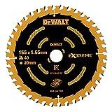 DEWALT Extreme Kreissägeblatt DT10640 (für Einsatz auf Akku-Handkreissägen, Sägeblatt-ø 165/20 mm, Schnittbreite: 1,65 mm, 40 Zähne, Zahngeometrie: WZ, Zahnwinkel: 18°, für feine Schnitte) 1 Stück