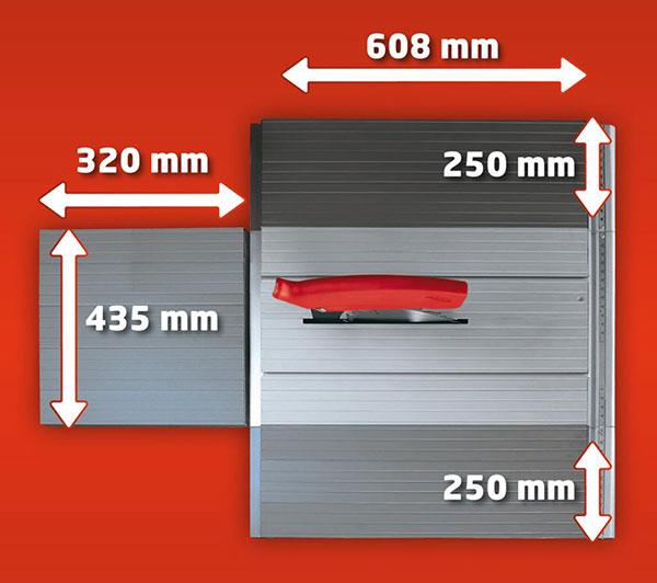 Verstellbare Tischplatte mit Abmessungen
